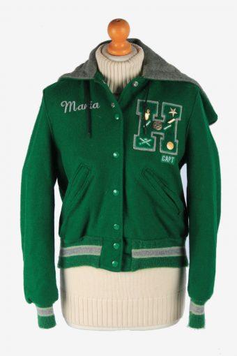 Womens Baseball Jacket College Varsity Vintage Size XS Green C2988-162731