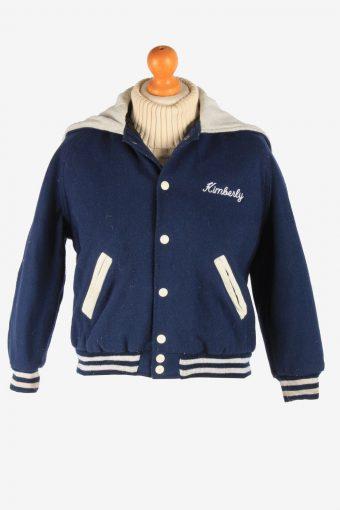 Womens Varsity Baseball Jacket USA College Vintage Size L Navy C2992