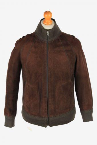 Suede Leather Reversible Jacket Men's Zip Up Vintage Size XS Dark Brown C2745