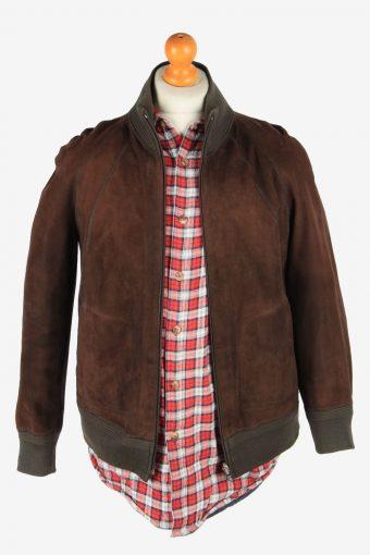 Suede Leather Reversible Jacket Men's Zip Up Vintage Size XS Dark Brown C2745-159765