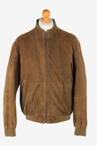 Suede Genuine Leather Jacket Men's Zip Up Vintage Size L Light Brown C2746