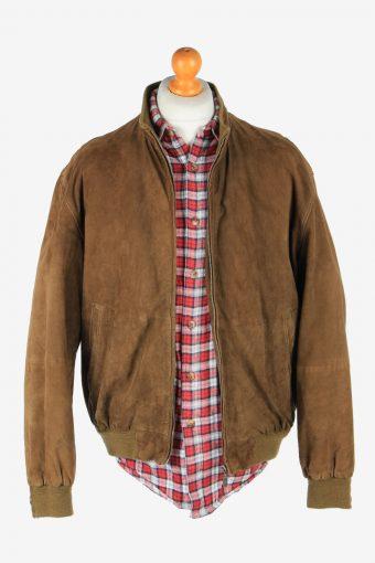 Suede Genuine Leather Jacket Men's Zip Up Vintage Size L Light Brown C2746-159771