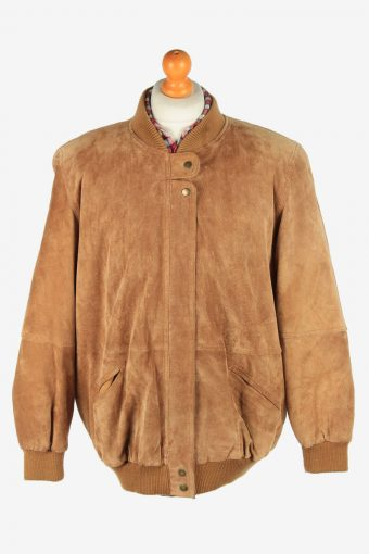 Suede Genuine Leather Jacket Men's Zip Up Vintage Size XL Light Brown C2750