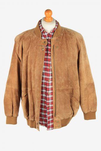 Suede Genuine Leather Jacket Men's Zip Up Vintage Size XL Light Brown C2750-159795