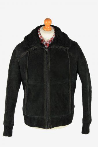 Suede Leather Jacket Men's Sherpa Sheepskin Zip Up Vintage Size L Black C2757