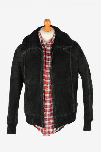 Suede Leather Jacket Men's Sherpa Sheepskin Zip Up Vintage Size L Black C2757-159837