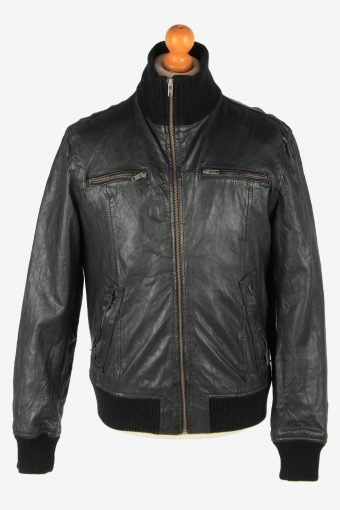 Jack Jones Leather Jacket Men's Zip Up Vintage Size L Black C2760
