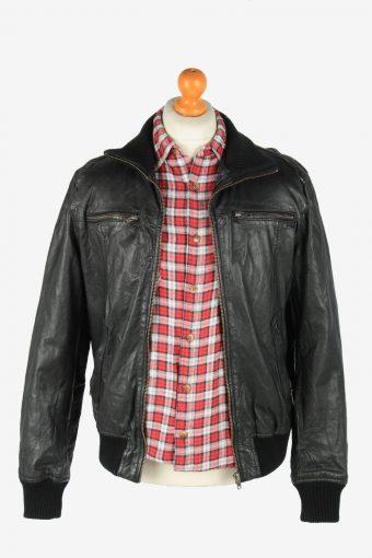 Jack Jones Leather Jacket Men's Zip Up Vintage Size L Black C2760-159855