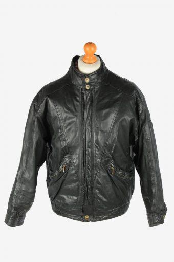 Italian Leather Jacket  Men's Zip Up Vintage Size XL Black C2761