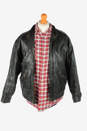 Italian Leather Jacket Men's Zip Up Vintage Size XL Black C2761-159861