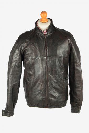 Leather Jacket  Men's Bomber Zip Up Vintage Size L Dark Brown C2766