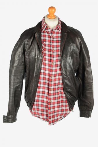 Leather Jacket Men's Bomber Zip Up Vintage Size L Dark Brown C2766-159891
