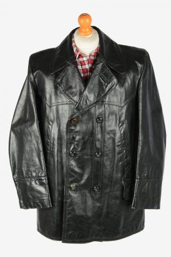 Leather Jacket  Men's Soft Button Up Vintage Size XXXL Black C2770