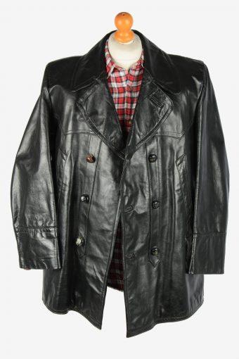 Leather Jacket Men's Soft Button Up Vintage Size XXXL Black C2770-159915
