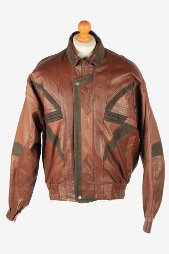 Leather Jacket  Men's Button Up Vintage Size XL Brown C2771
