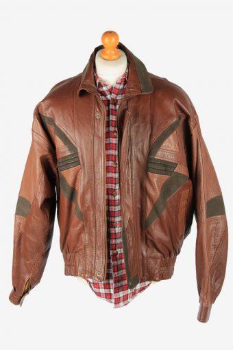 Leather Jacket Men's Button Up Vintage Size XL Brown C2771-159921