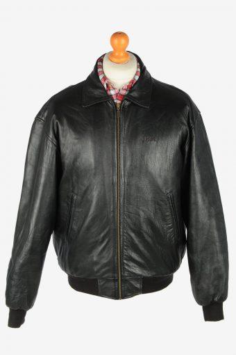 Leather Jacket  Men's Zip Up Vintage Size S Black C2773