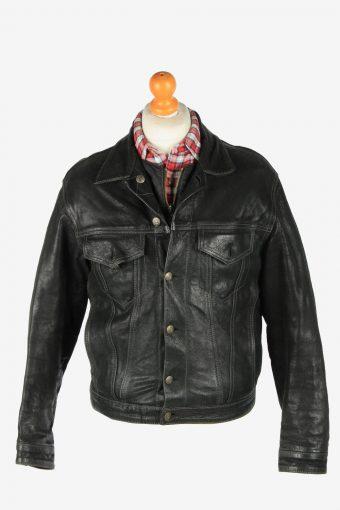 Leather Jacket  Men's Zip Up Vintage Size M Black C2775