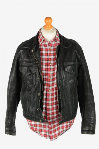 Leather Jacket Men's Zip Up Vintage Size M Black C2775-159945