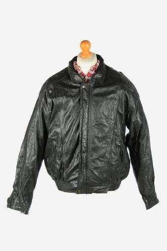 Leather Jacket  Men's Zip Up Vintage Size XL Black C2776