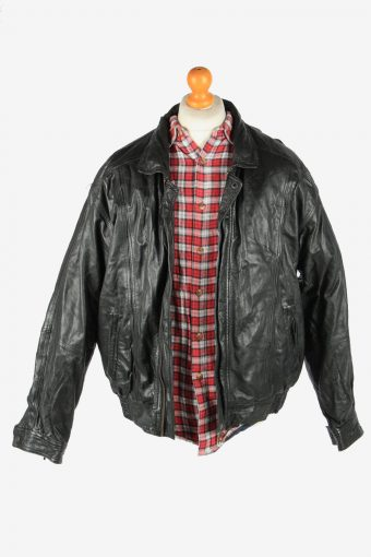 Leather Jacket Men's Zip Up Vintage Size XL Black C2776-159951