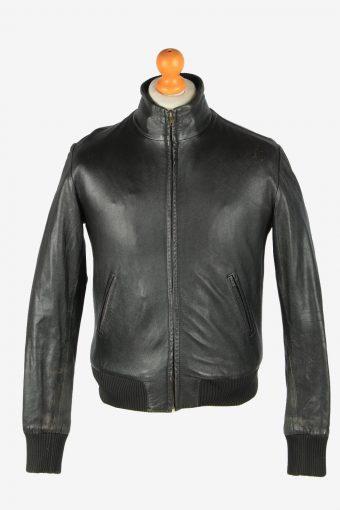 Leather Jacket  Men's Bomber Zip Up Vintage Size S Black C2779