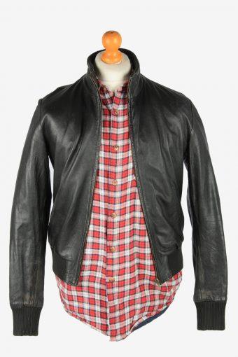 Leather Jacket Men's Bomber Zip Up Vintage Size S Black C2779-159969