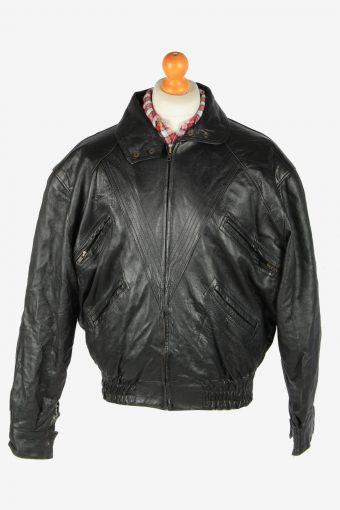 Genuine Leather Jacket  Men's Zip Up Vintage Size M Black C2791