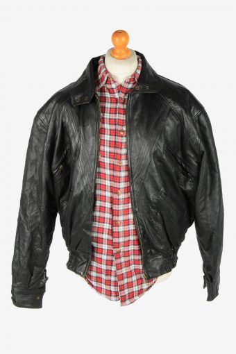 Genuine Leather Jacket Men's Zip Up Vintage Size M Black C2791-160040