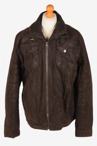 Genuine Suede Leather Jacket Men's Zip Up Vintage Size XL Dark Brown C3092