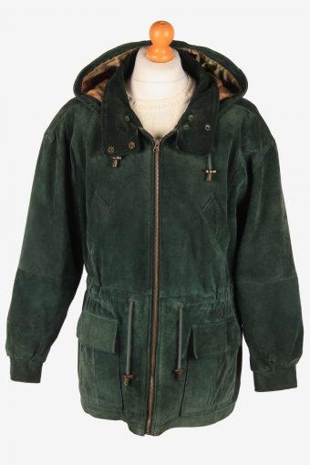 Real Suede Coat Hooded Men's Zip Up Vintage Size L Green C3093-165021