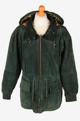 Real Suede Coat Hooded Men's Zip Up Vintage Size L Green C3093