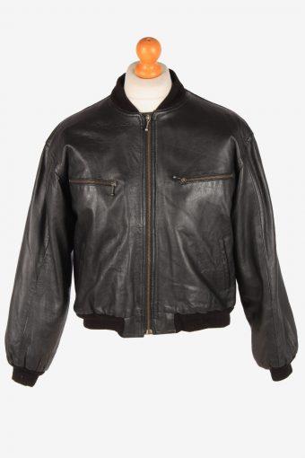 Leather Bomber Jacket Men's Zip Up Vintage Size L Black C3096