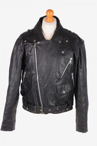 Motorbike Real Leather Jacket Men's Heavy Weight Vintage Size XL Black C3100-165063