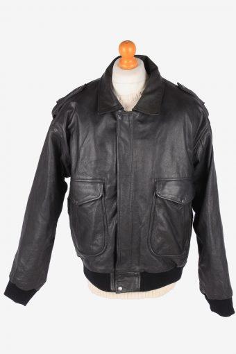 Real Leather Pilot Jacket Men's Fly Zip Up Vintage Size XL Black C3103