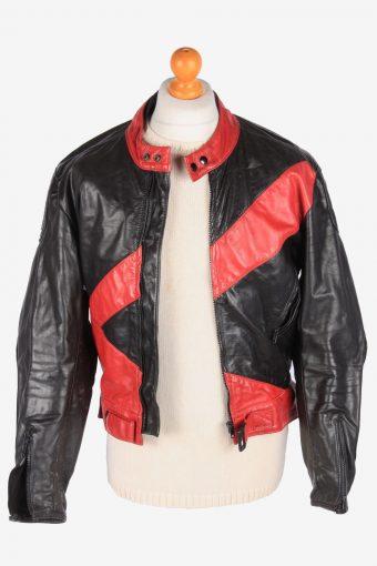 Motorbike Leather Jacket Men's Biker Zip Up Vintage Size S Black C3106