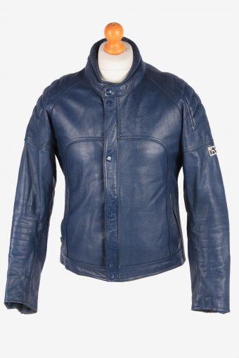 Genuine Leather Motorbike Jacket Mens Zip Up Vintage Size M Charcoal C3109