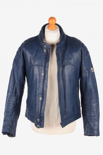 Genuine Leather Motorbike Jacket Mens Zip Up Vintage Size M Charcoal C3109-165298