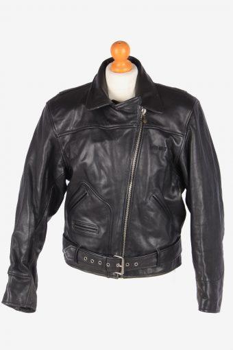 Genuine Leather Motorbike Jacket Womens Biker Zip Up Vintage Size S Black C3111