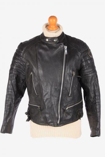 Real Leather Motorbike Jacket Womens Zip Up Vintage Size S Black C3112