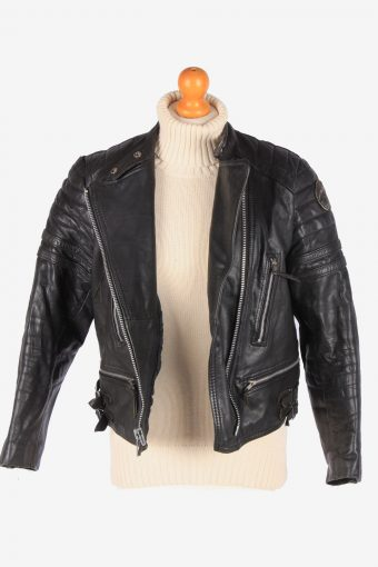 Real Leather Motorbike Jacket Womens Zip Up Vintage Size S Black C3112-165316