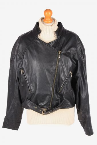 Womens Genuine Leather Jacket Smart Zip Up Vintage Size XL Black C3113