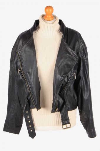 Womens Genuine Leather Jacket Smart Zip Up Vintage Size XL Black C3113-165322
