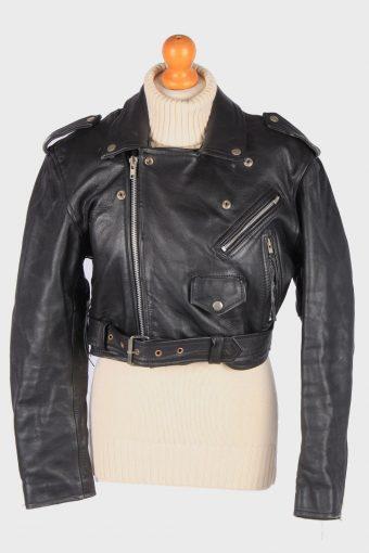 Motorbike Real Leather Jacket Womens Biker Vintage Size L Black C3115