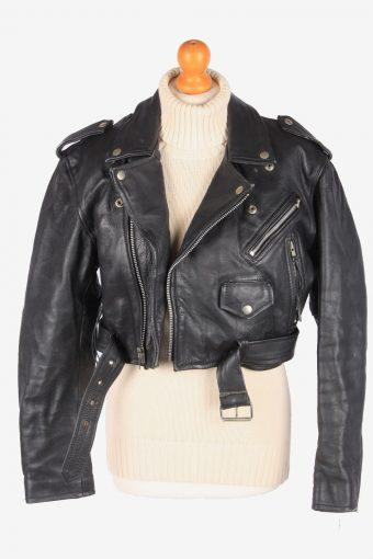 Motorbike Real Leather Jacket Womens Biker Vintage Size L Black C3115-165334