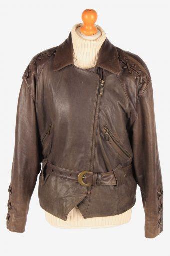 Womens Genuine Leather Jacket Design Zip Up Vintage Size XL Brown C3118