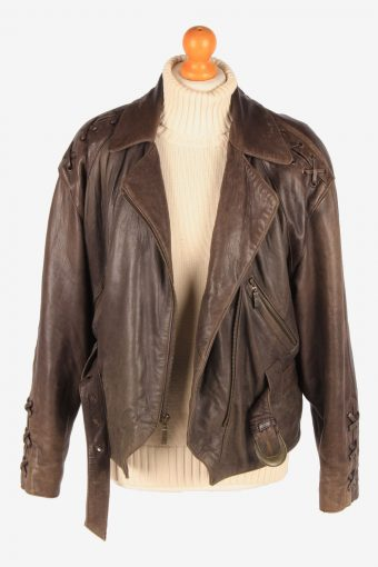Womens Genuine Leather Jacket Design Zip Up Vintage Size XL Brown C3118-165352