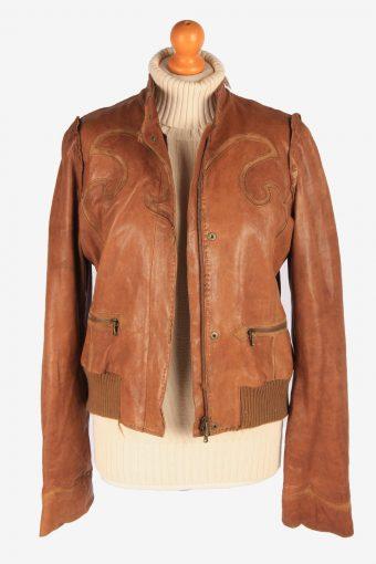 Lambskin Genuine Leather Jacket Womens Zip Up Vintage Size M Brown C3119-165358