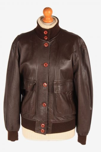 Womens Leather Bomber Jacket Button Up Vintage Size L Dark Brown C3120