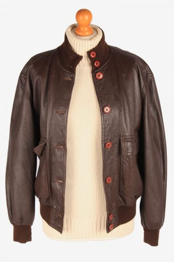 Womens Leather Bomber Jacket Button Up Vintage Size L Dark Brown C3120-165364